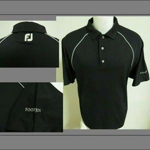 Sz L Black Striped FootJoy Men Poly #15S Golf Polo